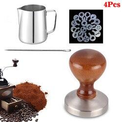 4 sztuk akcesoria do kawy 58mm stali nierdzewnej ubijak do kawy z 12 oz dzbanek do spieniania i ekspres do kawy ciągnąć kwiat formy i Latte Art Pen
