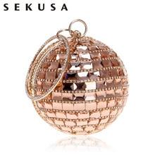 SEKUSA New Arrival Women Evening Clutch Purse Diamonds Metal Luxurious Fashion Lady Handbags Chain Shoulder Handbags Wedding Bag
