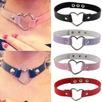 Halloween Sexy Catwomen Leather Rivet Punk Goth Heart Ring Collar Choker Fancy Dress costumes Leash Strap Necklace party favors