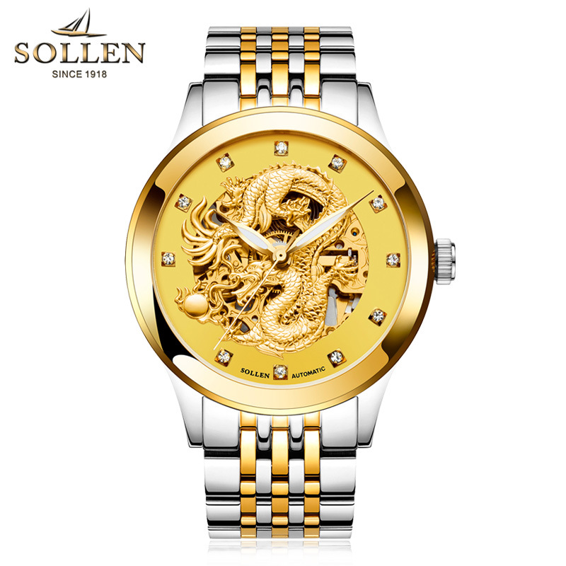 reloj hombre Dragon Skeleton Mechanical WristWatch Men Stainless Steel Strap Gold Clock 50m Military Army Waterproof Men watch ailang tourbillon automatic mechanical watch men s waterproof 50m army sport watches men full steel luminous clock reloj hombre
