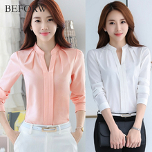 Фотография BEFORW Summer Fashion White Pink Women Shirt Sexy V-neck Office Women Blouses Chiffon Long Sleeves High quality Blouses Elegant
