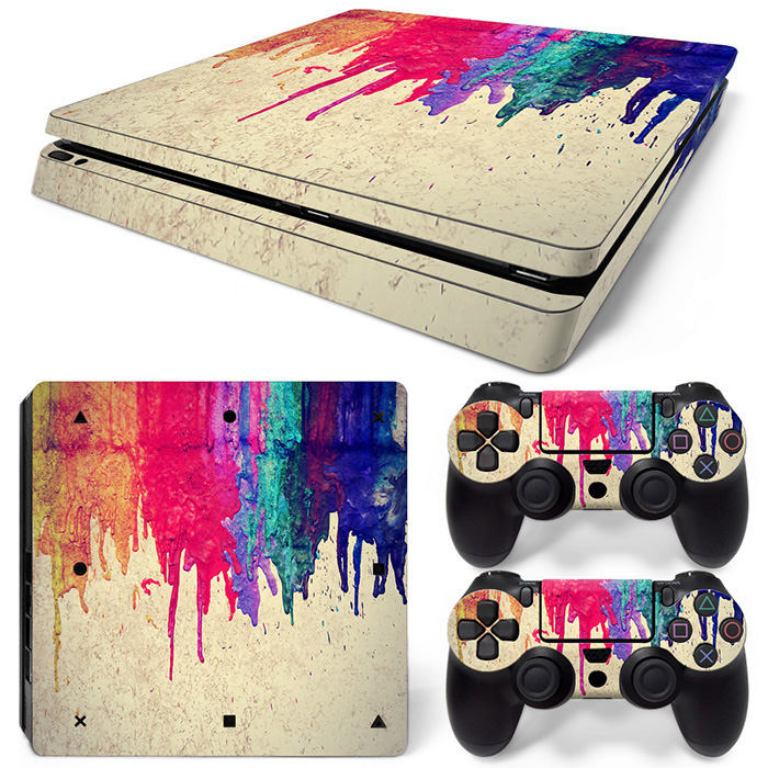 Hot Vinyl Skin Sticker For PlayStation 4 Slim PS4 Slim Console+2Pcs  Controller Cover Decals