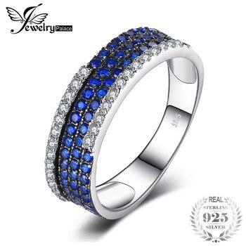 c1924502457a JewelryPalace anillo de compromiso plata de las mujeres 0.8ct creado azul  espinela de anillo de amor de marca de moda de joyería fina