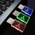 Cristal usb flash drive de 4 gb 8 gb 16 gb 32 gb 64 gb para mitsubishi insignia del coche del USB 2.0 Pen Drive Stick USB para el Coche con la Luz LLEVADA
