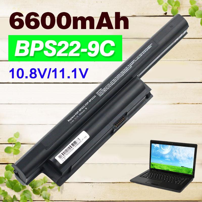 11.1v 6600mAh 9Cells Laptop Battery BPS22 VGP-BPS22 VGP-BPS22A for SONY VAIO EA1Z1E EA27EC VPC-E1Z1E VPC-EA1 EA16E EA1S EA45FG/B цена