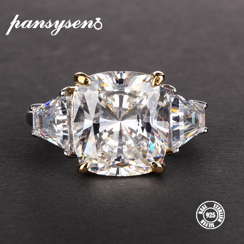 PANSYSEN Exquisite Moissanite Rings For Women Real 925 Sterling Silver Gemstone Wedding Engagement Jewelry Ring Wholesale Gifts