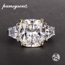 PANSYSEN Exquisite Moissanite Rings for Women Real 925 Sterl