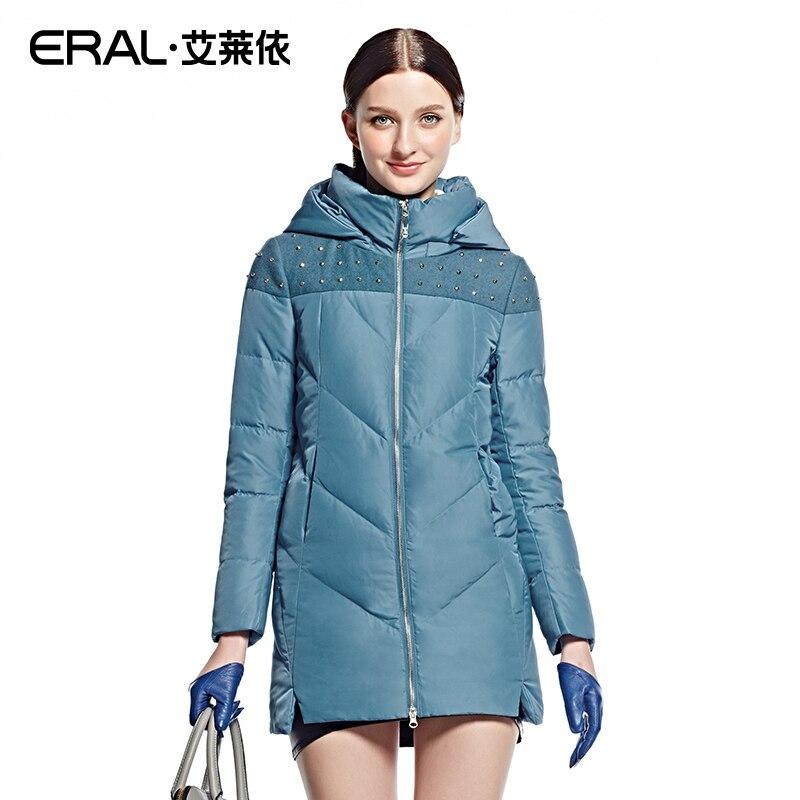 Eral 2016 invierno mujeres Slim capucha patchwork remache medio-largo  ocasional Abrigos de plumas chaqueta más tamaño eral6018d be423a7cc4f08