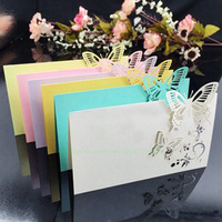 100pcs Lot Laser Cut Butterfly Place Cards Wine Glass Table Mark Glass Name Card Wedding Party