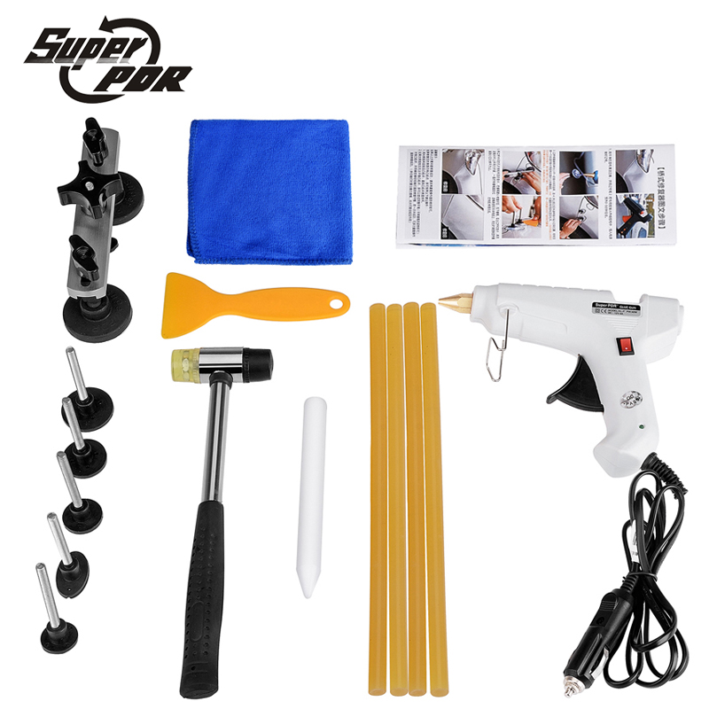 PDR Paintless dent repair tools pulling bridge 12v glue gun rubber hammer car body dent removal tool kit pdr hand tools цена