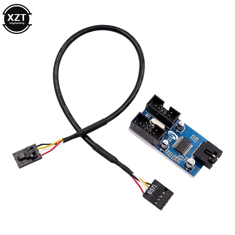 28cm excellent motherboard usb 9pin multiplier splitter 1 to 2 extension cable card 9 pin
