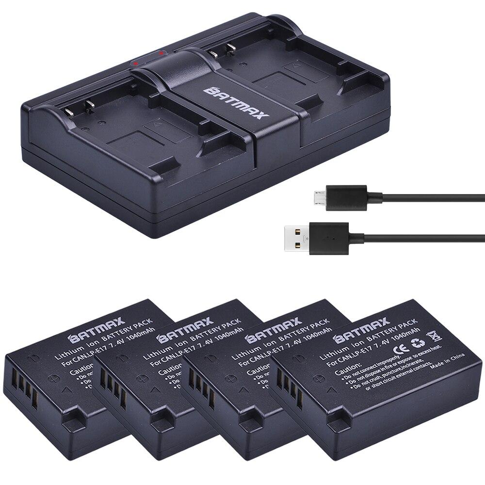 Batmax 4X LP-E17 LPE17 LP E17 Batterie + USB Double Chargeur pour Canon EOS M3 M5 M6 Rebelles T6i T6s T7i 750D 760D 8000D 77D Baiser X8i