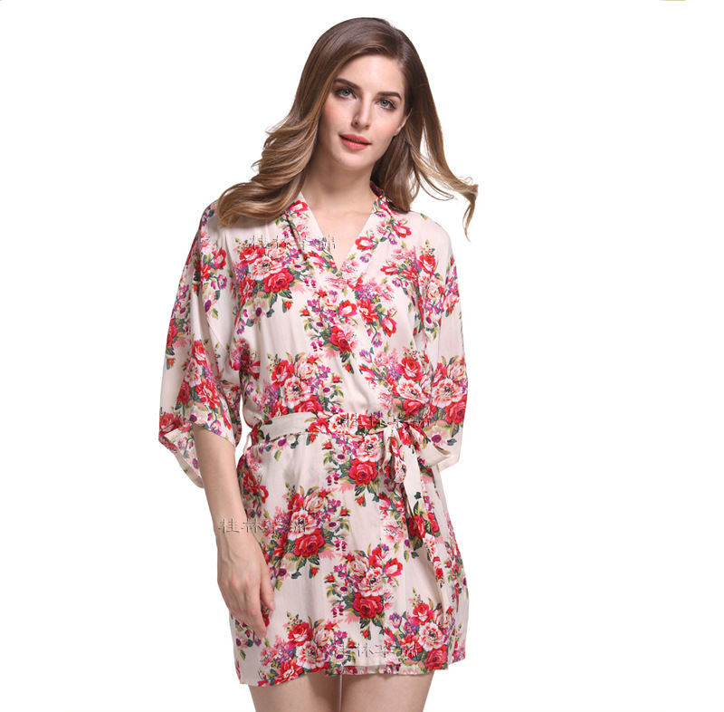 Aliexpress.com : Buy New Print Floral Women Wedding Bridal Kimono ...