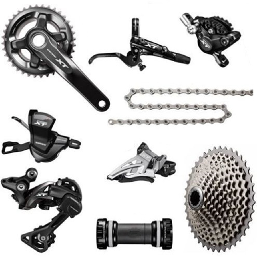 Brand New SHIMANO XT M8000 2x11 Speed MTB Groupset With Disc Brake Set  Ice-Tech Fin 8 Pcs 11-40T/42T/46T, 36-26T 170MM/175MM
