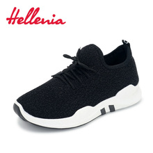 Купить с кэшбэком Hellenia big girl shoes size 36-40 fashion outdoor sneakers breathable light flats running casual shoes women lace up black gray