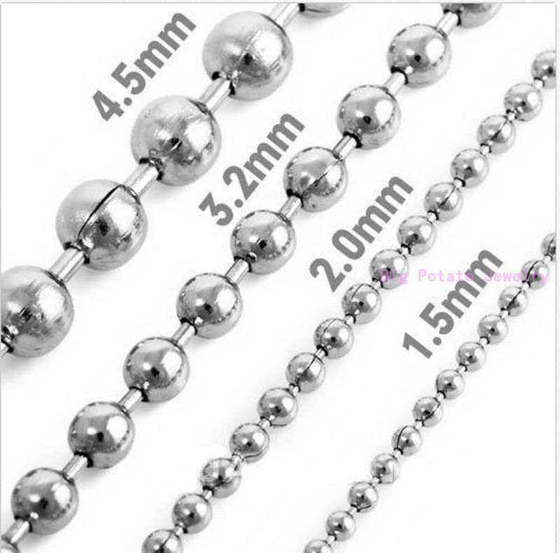 Wholesale Silver Stainless Steel 1.5//2//2.4//3//4//5//6MM Lot DIY Ball Chain Necklace