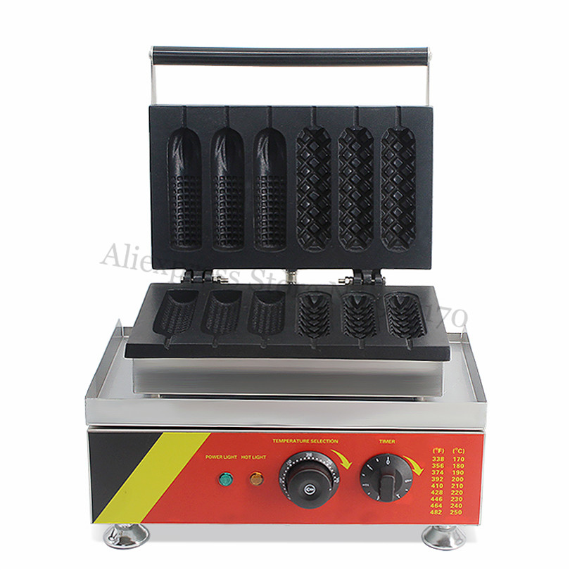 Street Food 3 French Muffin Hotdog + 3 Corn Hot Dog Waffle Maker Stainless Steel Sausage Lolly Waffle Machine 220V 110V