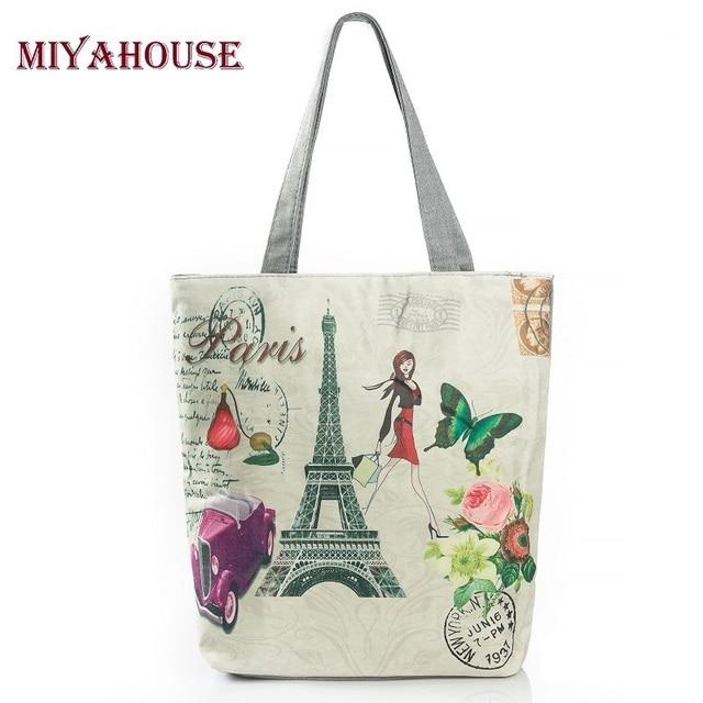 Miyahouse Canvas Design Women Beach Bag Paris Tower Printed Tote Handbag Female Large Capacity Single Shoulder