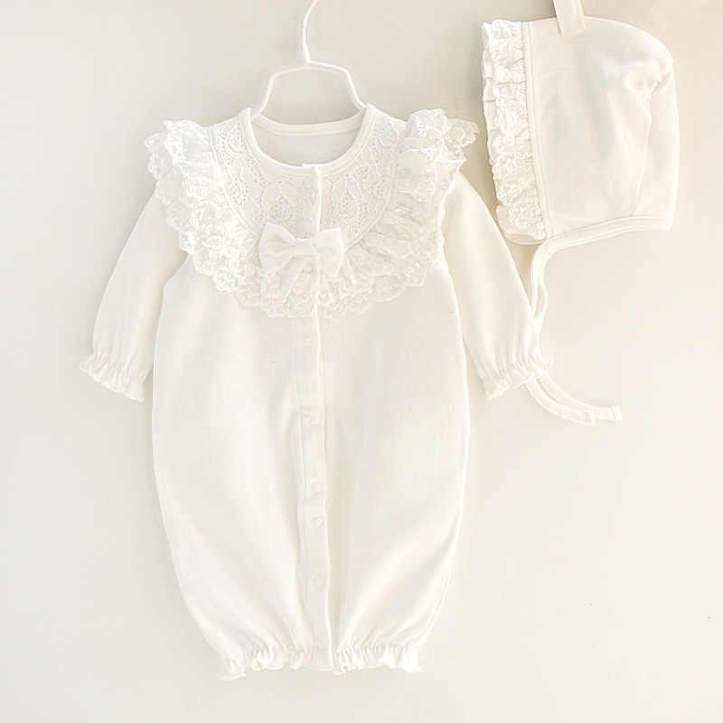 Pasgeboren Gril Katoenen Kant Romper Met Bernat Set Baby Meisjes Overall Wit Roze Sleepping Tas Baby Kleding Geboren 3 m 6 m 9 m 1 t Gift