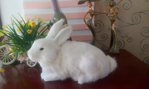 big simulation rabbit model toy polyethylene & furs white rabbit doll gift about 34x14x27CM 278
