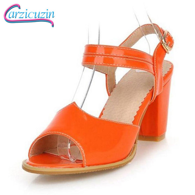 45e2cb04c28 US $36.99 |Women Ankle Strap Open Peep Toe High Heel Sandals Sexy Ladies  Square Heels Sandal Dress Heeled Footwear Shoes Size 31 43 PA00782-in High  ...
