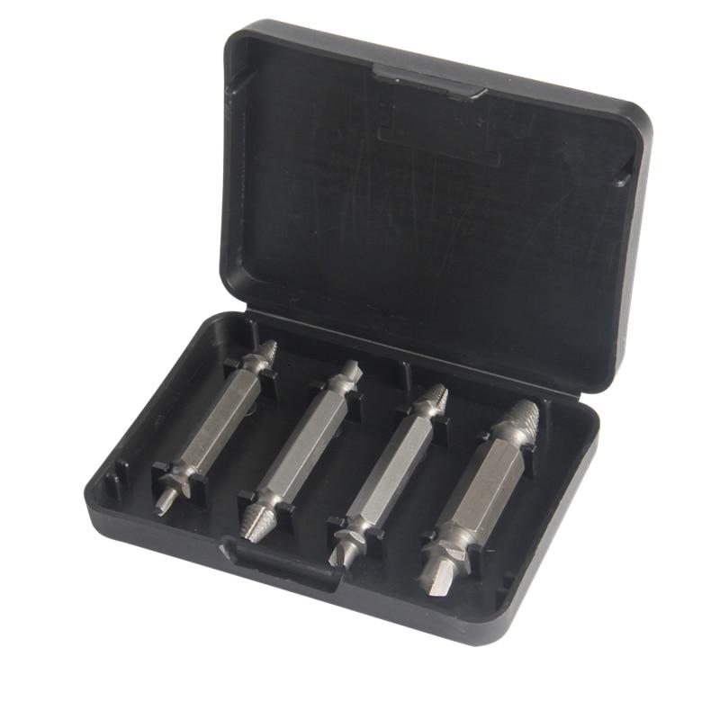 4pcs Extractor de tornillos Brocas de extracción Kit de extracción de pernos dañados de doble lado para herramienta de extracción de tornillos dañados de metal