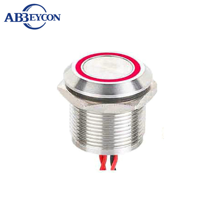 Abbeycon LED light ring Momentary 5V 12V 24V Flat Head 2A 19mm Normally Open Waterproof Wired
