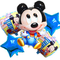 5 Pcs Lots New Arrival Mickey Mouse Happy Birthday Balloon Decoration Cartoon Party Foil Balloon 1