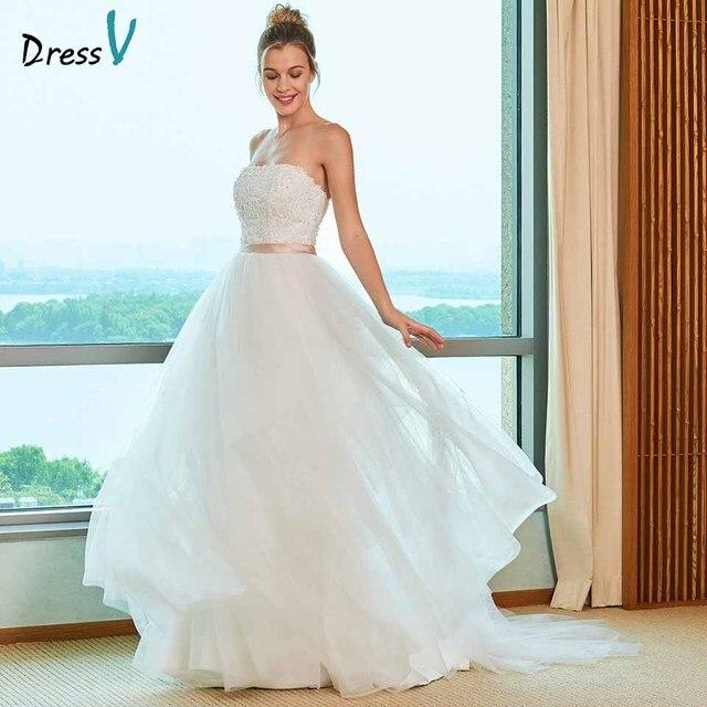 03a2ffaf1a964 Dressv elegant ball gown wedding dress strapless sweep train appliques lace  floor length bridal outdoor&church wedding dresses