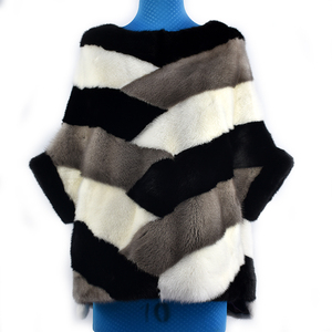 Image 3 - 2020 新リアルミンクの毛皮コートジャケットポケットバットスリーブバットウィングファッション女性の毛皮のコート厚く暖かいストリートスタイル半袖