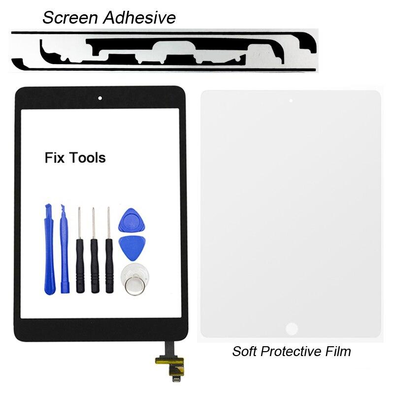 1 pcs Plein Testé Digitizer Écran Tactile Pour Apple iPad mini 1 A1432 A1454 A1455 Avant Lentille En Verre avec Bouton + IC + Adhésif + Outils