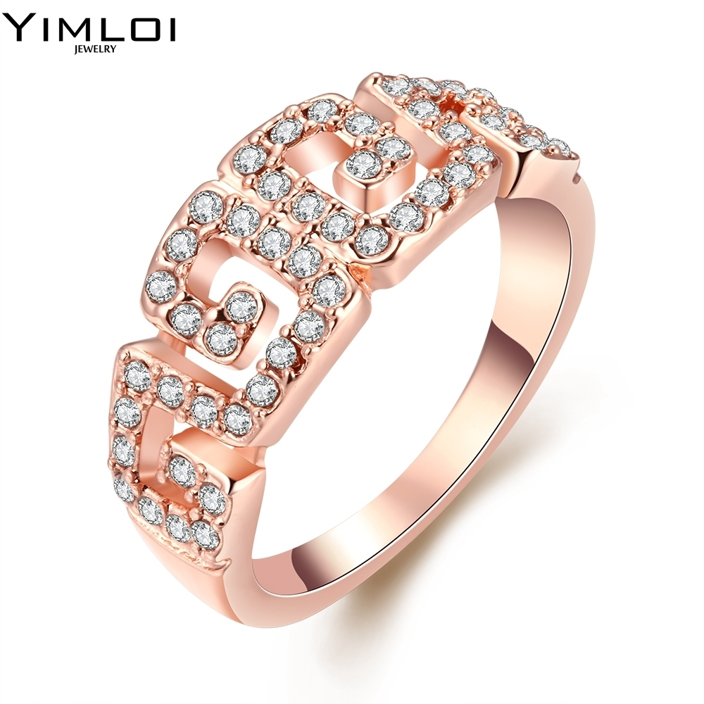 Trendy Big Geometric Knuckle Ring Gothic Retro Long Rose Gold Color Cz  Fashion Party Jewelry Rings
