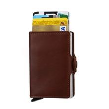 Echtes Leder Kreditkarteninhaber mit 12 Slots Kapazität Visitenkarte Halter Aluminium Zwei in Einem RFID Doppel Brieftaschen