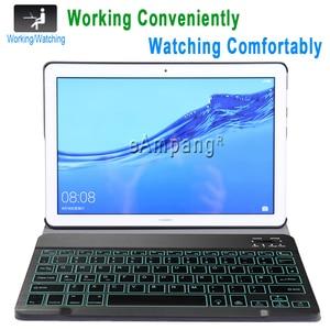 Image 2 - מקלדת עם תאורה אחורית עבור Huawei MediaPad T5 10 10.1 מקלדת מקרה AGS2 W09 AGS2 L09 AGS2 L03 Bluetooth מקלדת עור כיסוי אופן בסיסי