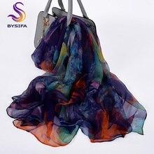 [BYSIFA] дамы шелковый шарф шаль длинные шарфы для женщин модный бренд шарфы Элегантный Синий Фиолетовый шеи шарф, Пляжный платок, накидка