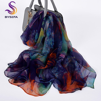 [BYSIFA] Ladies Silk Scarf Shawl New Long Scarves Fashion Brand Scarves Elegant Purple Blue Neck Scarf Beach Shawl Cover-ups