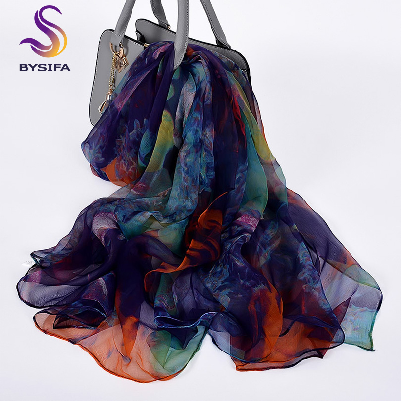 [BYSIFA] Ladies Silk Scarf Shawl New Long Scarves Fashion Brand Scarves Elegant Purple Blue Neck Scarf Beach Shawl Cover-ups