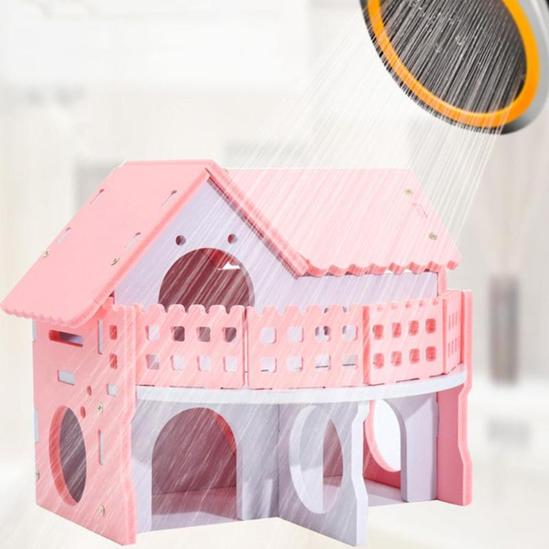 Wooden House Guinea Pig Mice Stairs Cockloft Small Pet Playing Watching Stage Wooden Cages Hamster  (6)