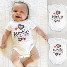 Casual Lovely Baby Kids Romper Bodysuit My Auntie Loves Me Printed Boys Girls In