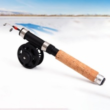 Fishing Rod Tackle Lure  Spinning Ultra-short telescopic ice fishing rod Black EVA handle