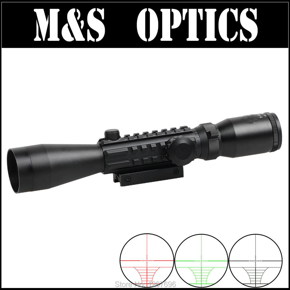 ФОТО 3-9X40 EG Red Green Dot Illuminated Riflescope Airgun Sight Optics With Scope  Weaver Rail Mounts For Outdoor Hunting