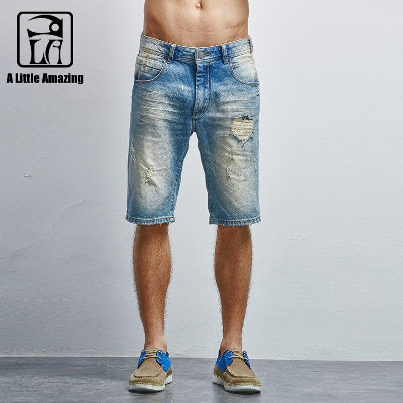 New Summer brand denim shorts men Casual Jeans men Shorts trousers mens jeans Slim straight hole short jeans men cotton baixo