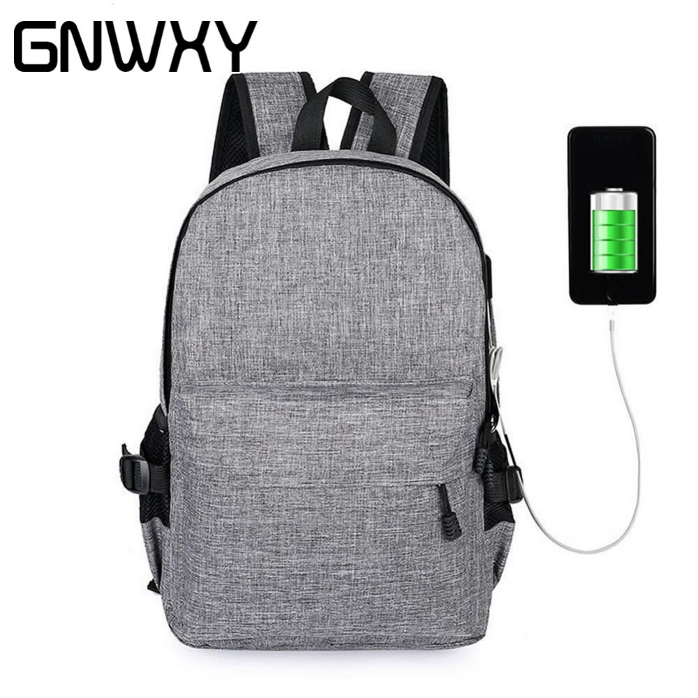 6 Colors Waterproof Oxford Men Backpacks External Usb Charging Canvas School Bags Travel Laptop Backpack For Teenager Boy Girls