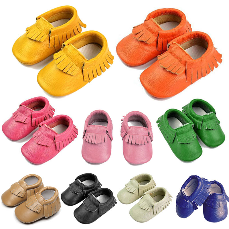 Cute Baby Moccasin Newborn Baby Prewalkers Shoes First Walker Soft Bottom Non-slip PU Le ...