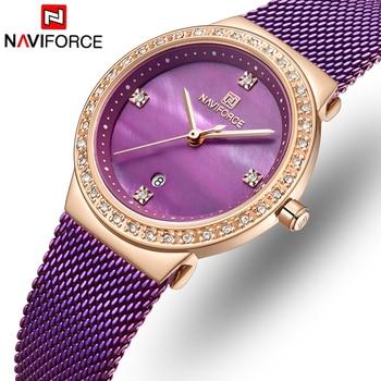 NAVIFORCE 5005 Luxury Women Watches Female Fashion Quartz Calendar Watch Ladies Simple Waterproof Wrist Watches with box