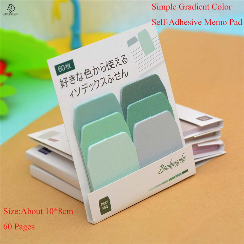 Simple Gradient Color memo pad sticky notes Self-Adhesive Times Indexes planner stickers post bookmark school supplies