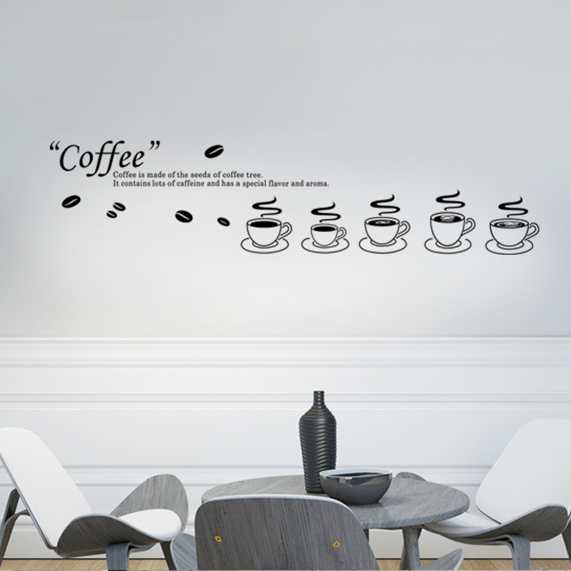 Coffee Cup Quotes Wall Decal For Office Room Decorative Sticker Vinyl Art Home Decor