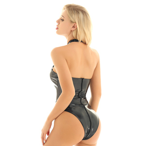 Image 4 - iiniim Womens Sexy Dance Club Parties Bodystocking Wetlook Patent Leather Lingerie Bodycon High Cut Strappy Bust Teddy Bodysuit