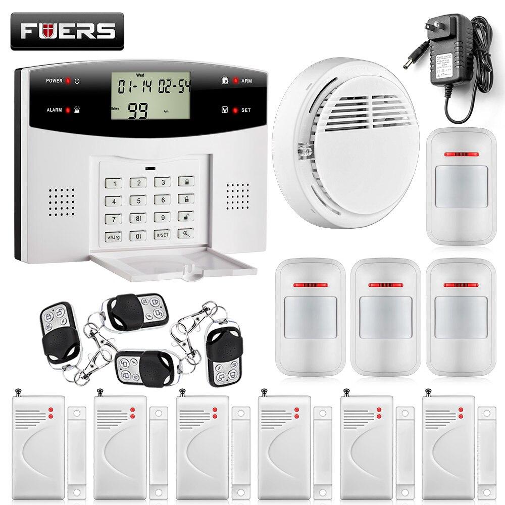 433MHZ dual-network GSM PSTN SMS House Burglar Security Alarm System fire/smoke Detector+door/window Sensor Kit Remote Control wireless vibration break breakage glass sensor detector 433mhz for alarm system