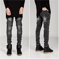 ripped jeans for men skinny Distressed slim famous brand designer biker hip hop swag tyga white black slim jeans kanye west